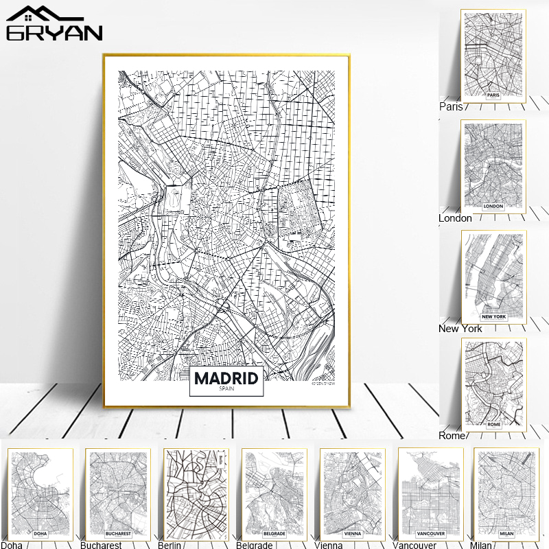 Black White World City Map Canvas Painting Madrid London New York Berlin City Line Wall Art Print Poster Room Decoration Picture