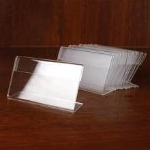 Soporte de exhibición de acrílico transparente, marco de etiqueta de escritorio, soporte de tarjetas de negocios, 10 Uds.