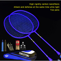 Double shot full carbon badminton racket ultra light offensive carbon fiber durable