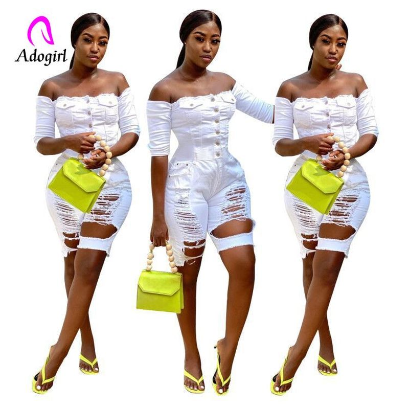 Distressed Denim Women Playsuit White Off Shoulder Rompers Front Button Up Women Work Out Jeans Jumpsuit Bodycon Party Overalls