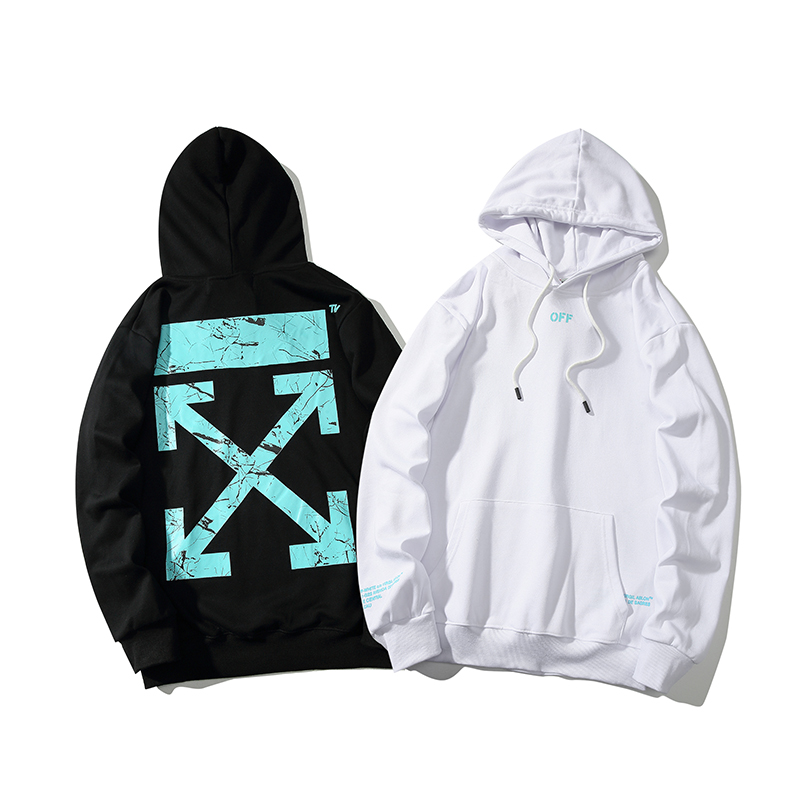 Graffiti Crack Arrow 19ss Off-White OW Men/Women Autumn Winter Cotton Fashion Casual Loose Hoodie Sweatshirt Hooded Jacket