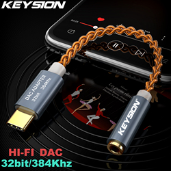 Keysion HI FI DAC Earphone Amplifier USB Tipe C untuk 3.5 Mm Headphone Jack Audio Adapter 32bit 384 KHz Digital Decoder aux Converter