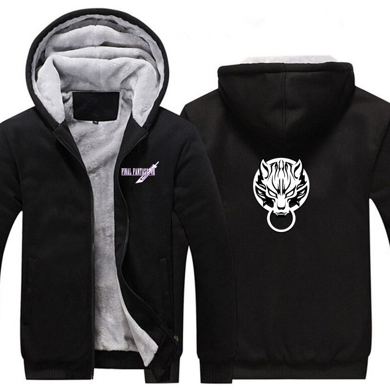 New Game Final Fantasy 7 FF7 Thicken Hoodie Sweatshirts Cosplay Costume Anime Winter Warm Coat Hooded Men Adult Clothing