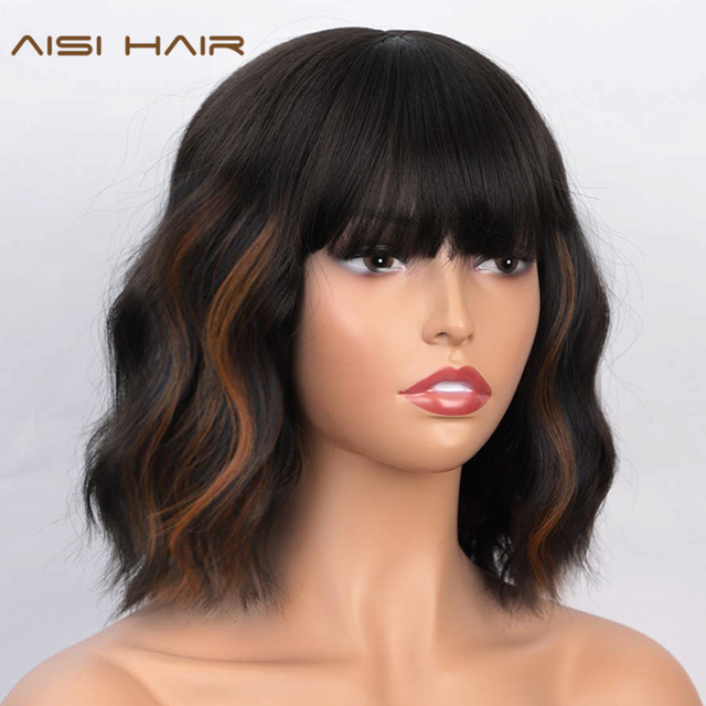 AISI HAIR Short Wavy Wig with Bangs Synthetic Wigs for Women Natural Brown Mixed Black Hair Bob Wig Daily Heat Resistant Fiber
