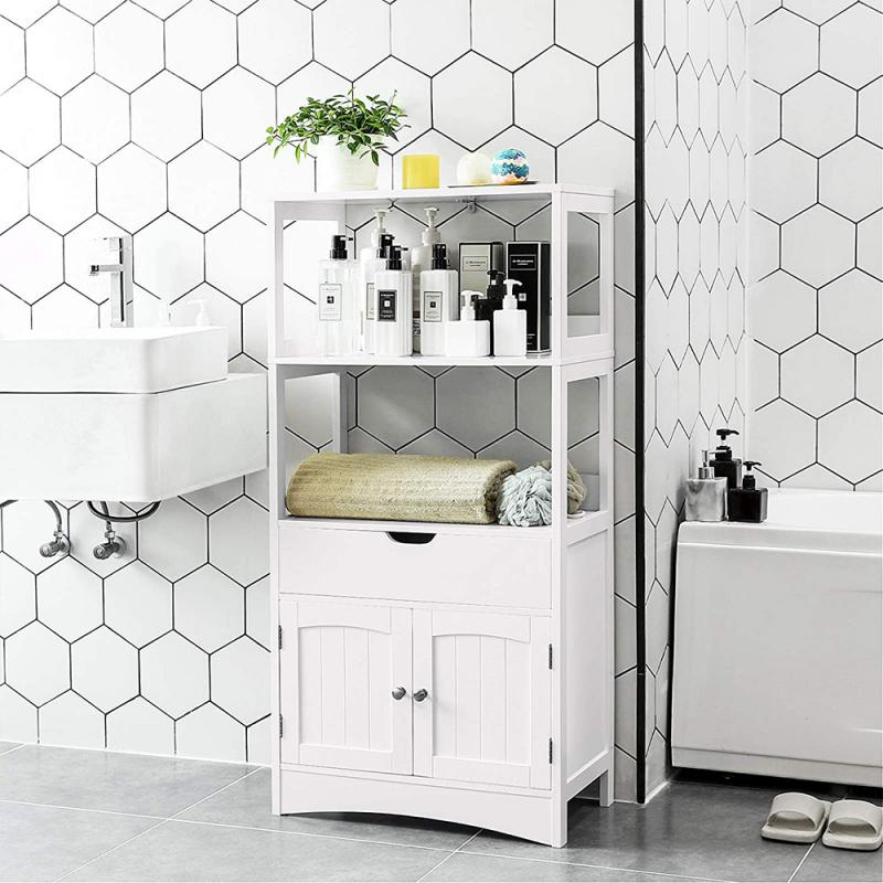 Bathroom Cabinet Toilet Furniture Cabinet White Wood Cupboard Shelf Tissue Storage Rack 3tiersBathroom Storage Cabinet Shelf HWC