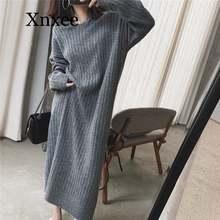 Женское длинное свободное вязаное платье свитер с капюшоном