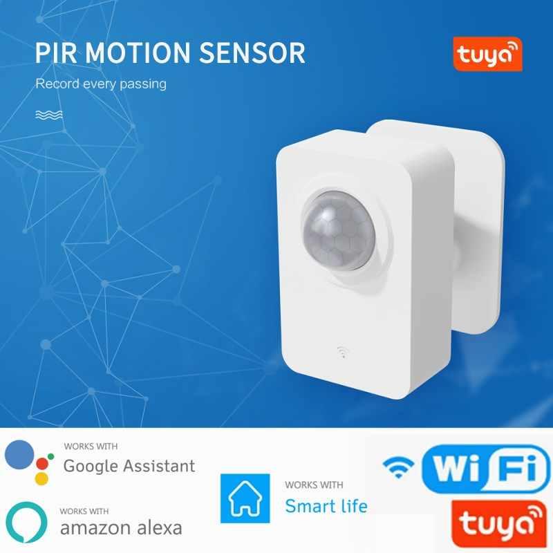sensore di allarme antifurto di sicurezza compatibile con Alexa Google Assistant rilevatore passivo a infrarossi JINQII Tuya Sensore di movimento PIR