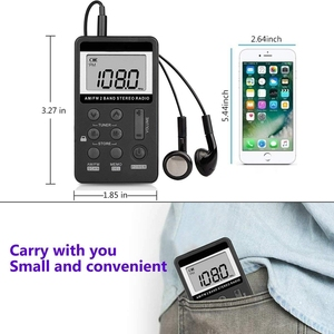 Image 3 - AM FM Radio de poche Portable, Mini stéréo de réglage numérique avec batterie Rechargeable et écouteurs pour la marche/Jogging/salle de sport/Camping