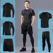 Ternos do esporte da compressão dos homens do esporte do esporte dos esportes de secagem rápida correndo conjuntos de roupas joggers treinamento ginásio de fitness conjunto de treino