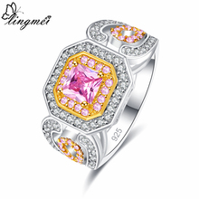 Lingmei Excellent Wedding Band Two Tone Jewelry for Women Gold & Pink White Zircon Ring Silver Size 6 7 8 9 Party Nice Gifts