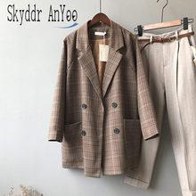 Autumn Plaid Women Blazer Jackets Coat Vintage Cardigan Coats Double Breasted