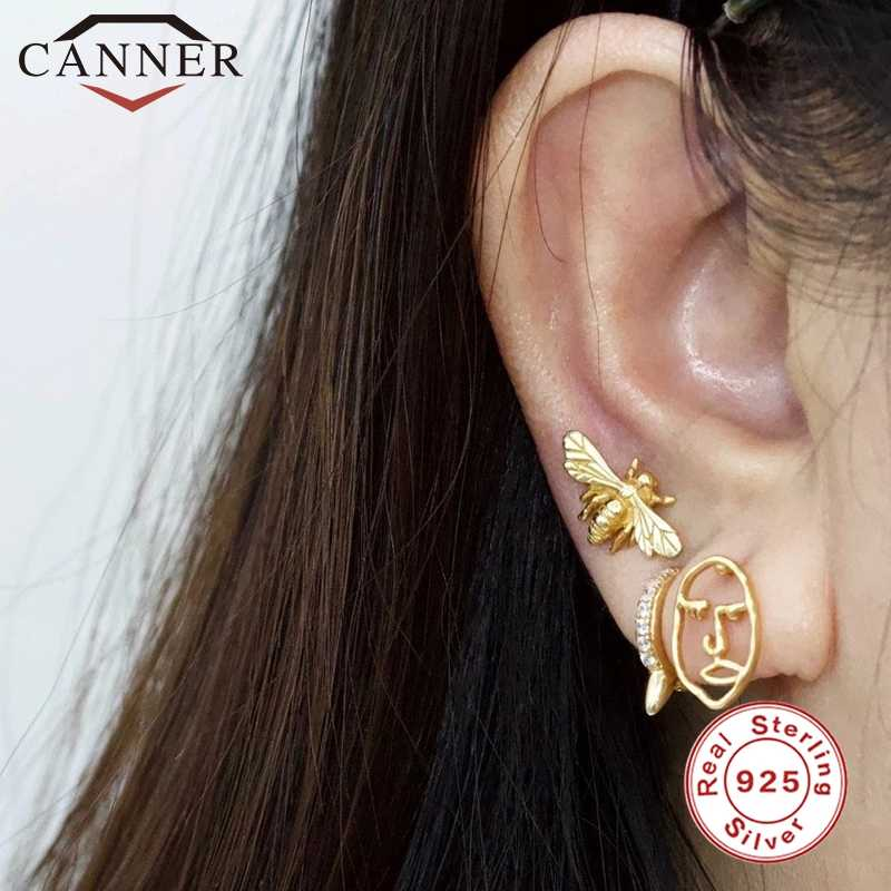 CANNER 여성 귀걸이 패션 925 스털링 실버 채워진 보석 여자를위한 귀여운 더블 스터드 귀걸이 Bee Lotus Dog Cat Paw