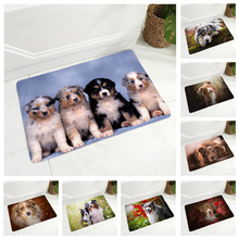 Australian Shepherd Dog Mat for Children Room Non-Slip Decor Pet Animal  Hallway Doormat Super Soft Flannel Floor Carpet 40x60cm