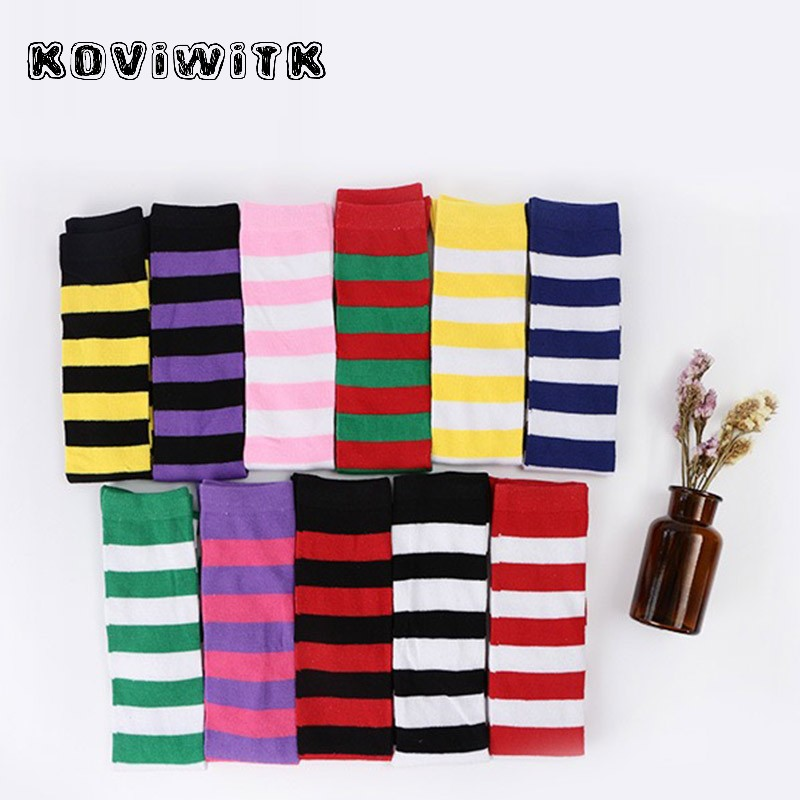 Rainbow Knee Stockings for Womens Sox sexy Thigh high long Stocking Stripe plus size RedBlack compression Girls winter Women