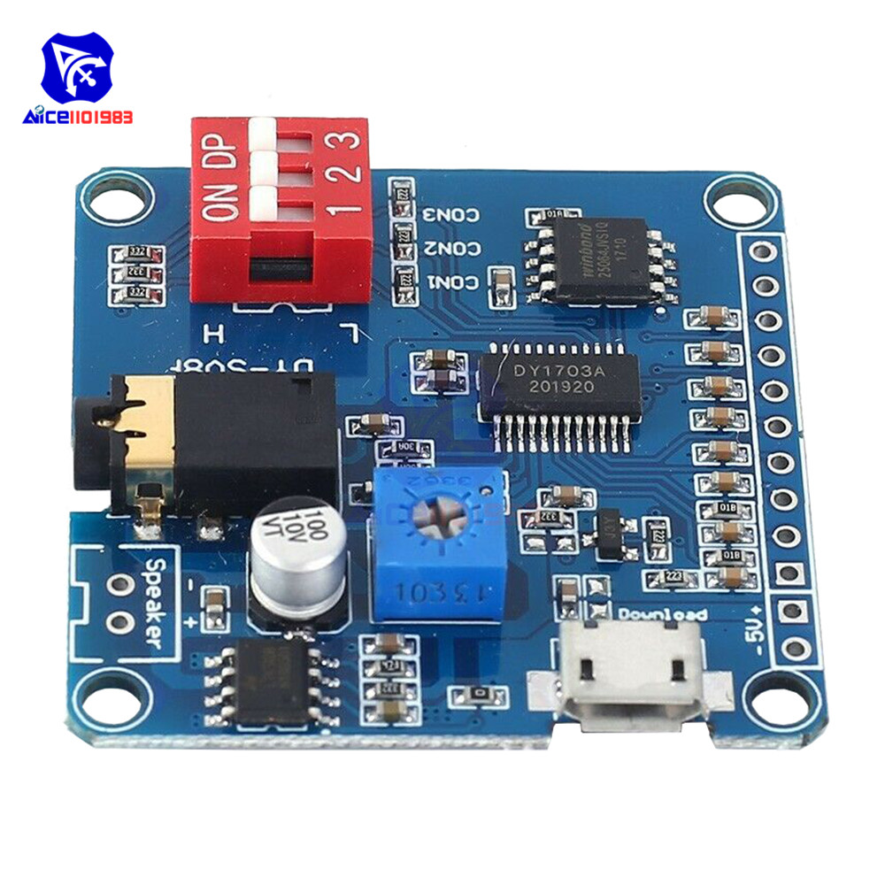 5W Voice Playback Module Board MP3 Music Player IO Trigger Amplifier UART Protocol Control USB Download 64MB Flash image