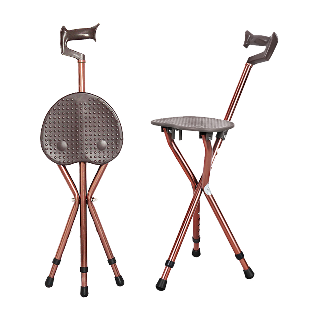 Cofoe Folding Walking Chair Aluminium Adjustable Walking Stick With Cane Seat For Elderly Go Out And Hiking