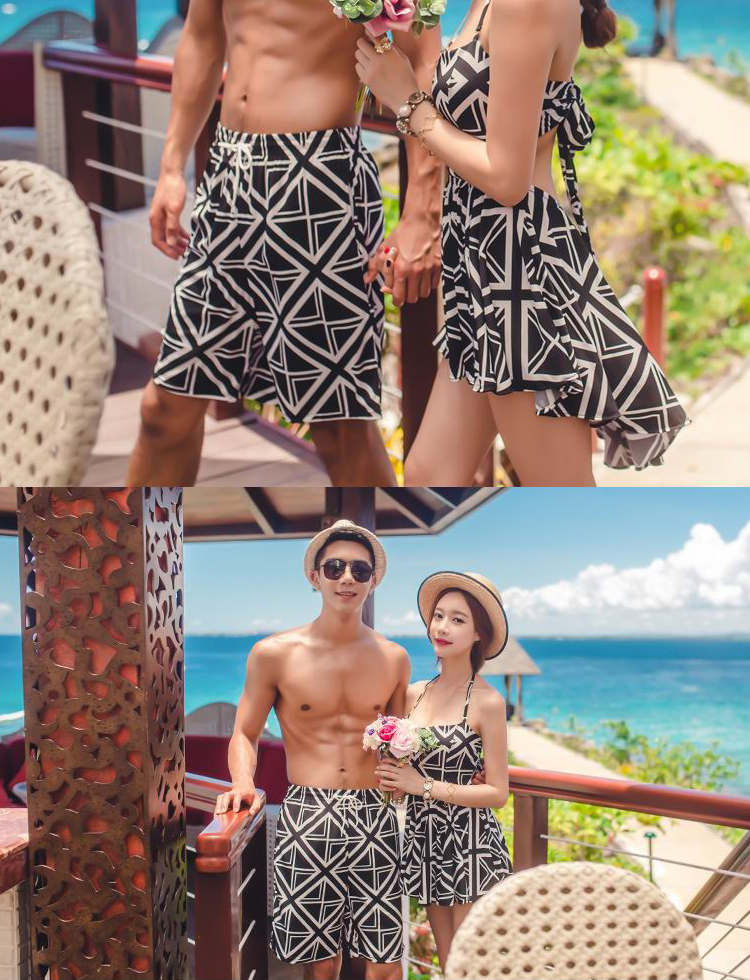 Matching Couple Swimsuit Men Swim Shorts & Women Skirt One Piece Swimwear Quick Dry Beach Pants Swimming Surfing Board Shorts