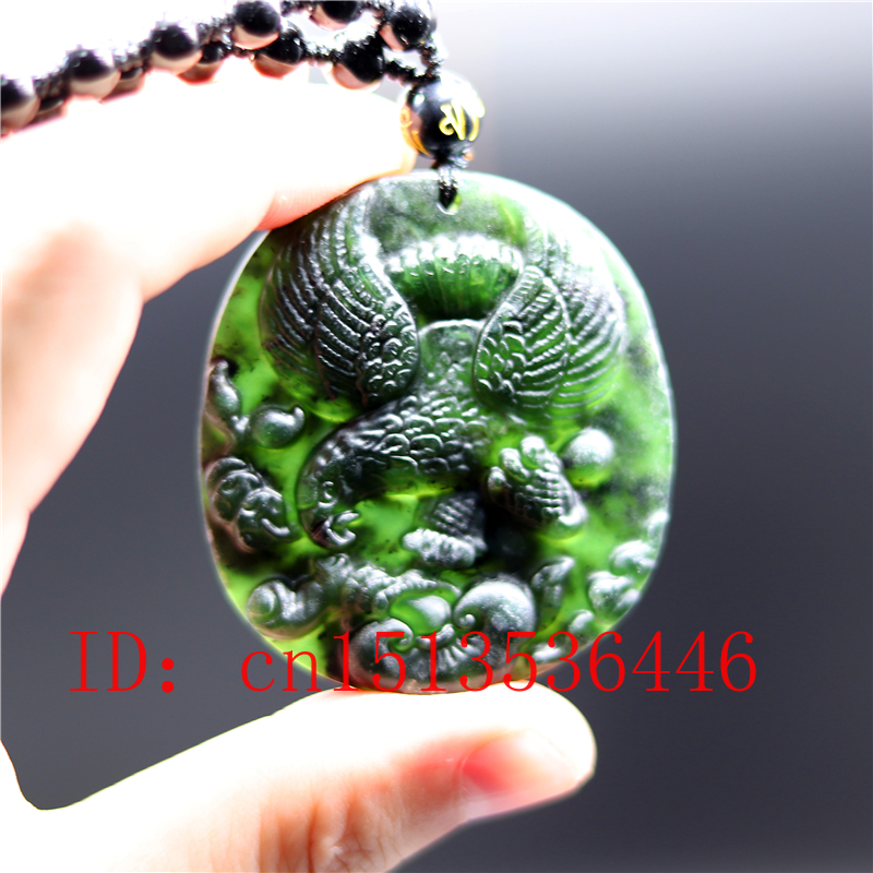 Chinese Black Green Jade Eagle Jade Pendant Natural Obsidian Necklace Charm Jewellery Fashion Amulet Luck Gifts Men Women