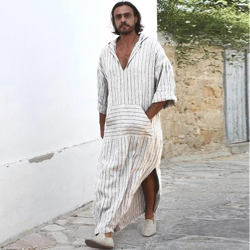 Plus Size Man Muslim Medieval Costumes Turkish Pakistan Islamic Jubba Thobe Hooded Striped Polyester Long Shirt Kaftan