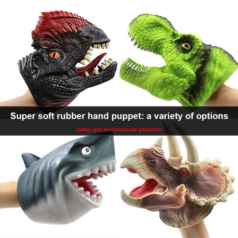 Dinosaurier Kopf Abbildung Puppet Handschuhe Spielzeug Weiche Gummi Dinosaurier Handpuppe Handschuhe Kinder Realistische Tier Kopf Modell Handschuhe Spielzeug
