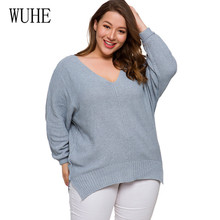 WUHE New Autumn Winter Womens Sweaters V-Neck Minimalist Tops Fashionable Korean Style Knitting Casual Solid Knit Loose Sweater