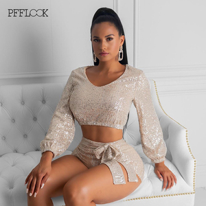 Image 3 - PFFLOOK Autumn Sexy Sequin 2 Piece Set Women O Neck Bandage Crop Tops Pants Two Piece Set Long Sleeve Women Two Piece Outfits