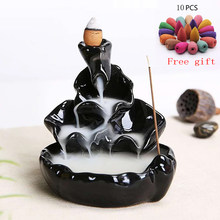 Ceramic Pottery Incense Holder Aromatherapy Creative Incense Burner Temple Shrine Censer w/ Incense Cones Holder Home Decor