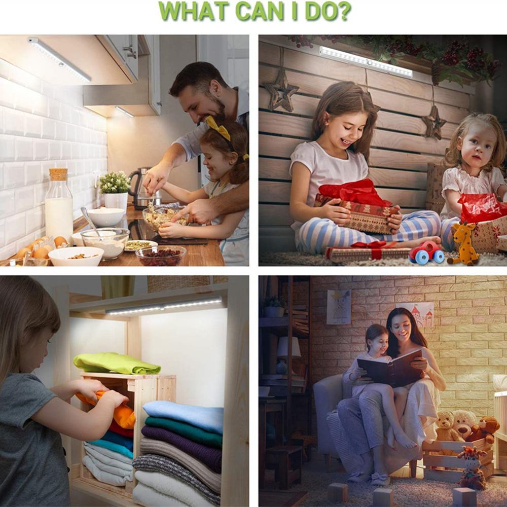 Купить с кэшбэком USB Rechargeable 20 LED Under Cabinet Light PIR Motion Sensor Light For Closet Wardrobe Cupboard Kitchen Stair Step Night Light