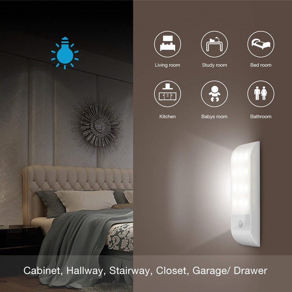 12 LED Induction Night Light With Motion Sensor USB Rechargeable Cabinet Light PIR Sensor For Closet Wardrobe LED Automatic