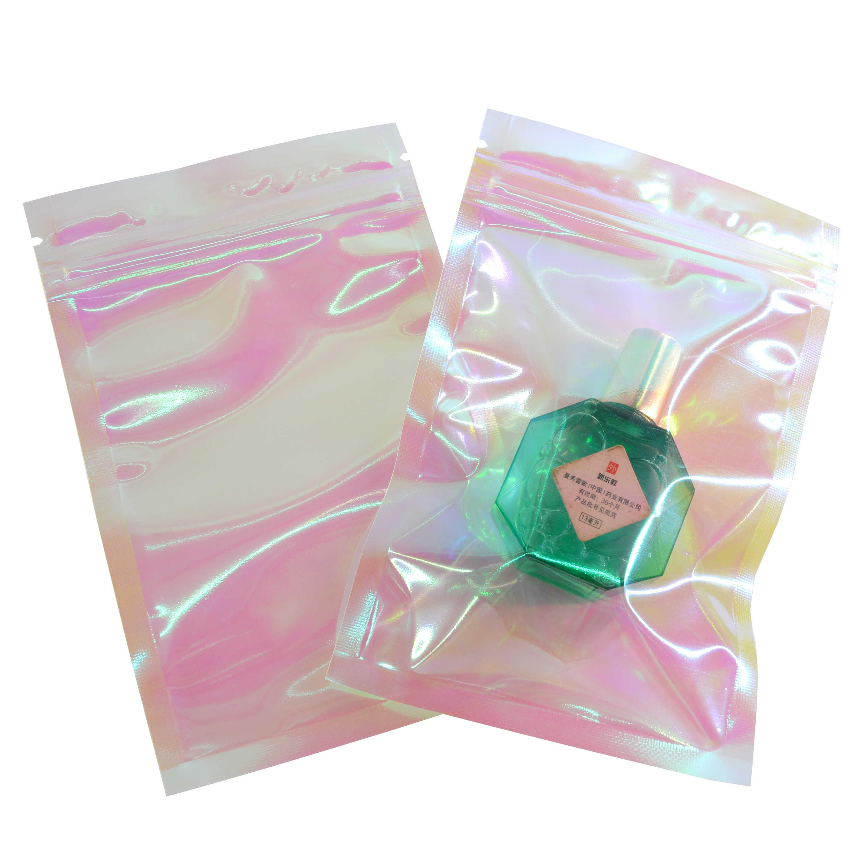 100 Pcs Iridescente Zip Borse di blocco Borse Multiuso di Plastica Cosmetica Laser Iridescente Borse Olografico Sacchetti di Trucco Ologramma Sacchetti Della Chiusura Lampo