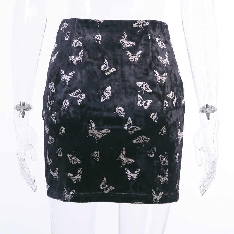 ArtSu noir Vintage velours jupe Sexy papillon imprimer jupes femmes Streetwear taille haute coréen Mini jupe fendu Saia ASSK20276