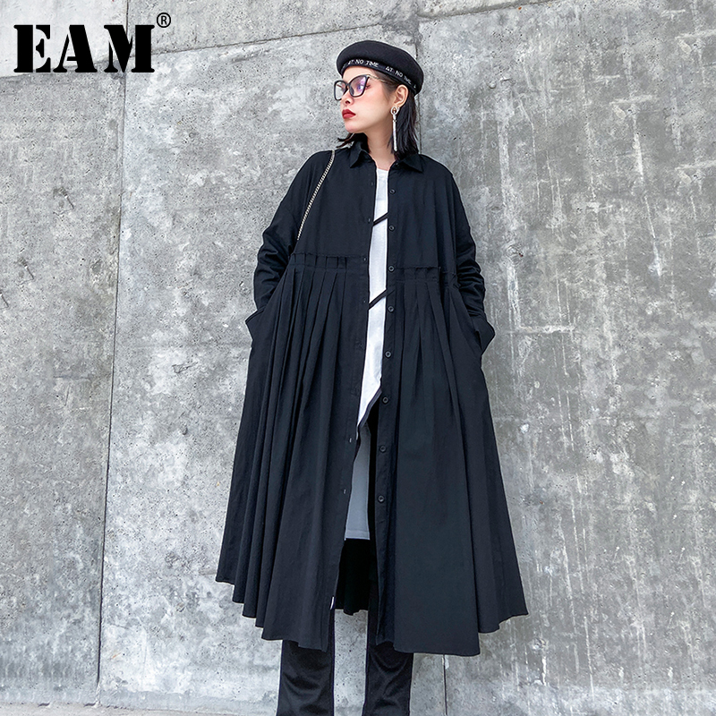 [EAM] Women Black Pleated Split Big Size Shirt Dress New Lapel Long Sleeve Loose Fit Fashion Tide Spring Autumn 2020 1R505