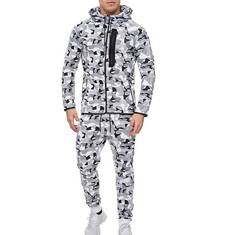2 Pieces Sport Tracksuit Men Camouflage Print Ropa Hombre Set Zipper Pocket Hoodies Jackets + Pencil Jogging Homme