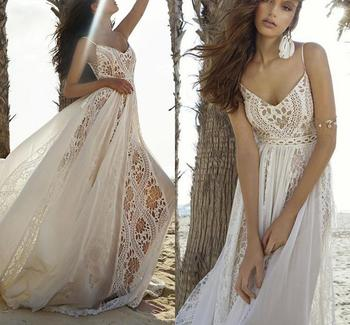 Bohemian Wedding Dresses 2020 V-neck Straps Lace Appliques Bridal Gowns Sexy Backless Beach A Line Wedding Dress Robe De Mariee sodigne tulle wedding dresses a line lace appliques bridal gowns sexy v neck sleeveless backless wedding gown robe de mariee