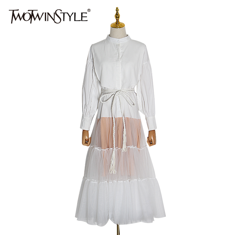 TWOTWINSTYLE Patchwork Perspective Women's Dress O Neck Long Sleeve High Waist Lace Up Dresses Female 2020 Spring Fashion New