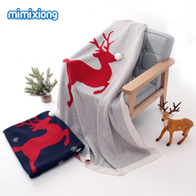 Baby Blankets Newborn Cotton Swaddling Wrap Christmas Deer Knitted Infant Kids Stroller Bedding Covers 100*80cm Children Quilts