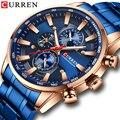 Мужские часы CURREN  люксовый бренд  спортивные кварцевые часы  мужские водонепроницаемые деловые наручные часы  стальной синий хронограф  муж...