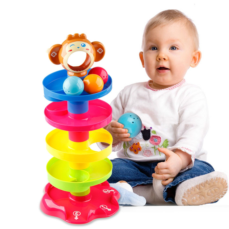Kids Rolling Ball Drop Toy For Babies Toddlers 5 Layer Tower Run With Swirling Ramps & 3 Balls Educational Development Toys