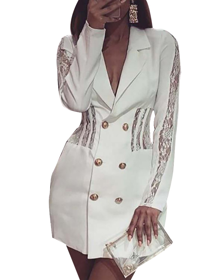 White Blazer Lace Patchwork Office Dresses Women Party Night Deep V Neck Long Sleeve Bodycon Dress Solid Jacket  Vestidos 2020
