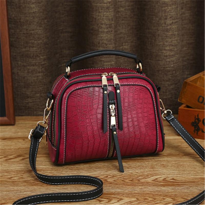 Vintage Stone Pattern Bags For Women 2020 Fashion PU Leather Black Shoulder Messenger Bag Hight Capacity Ladies Travel Handbags