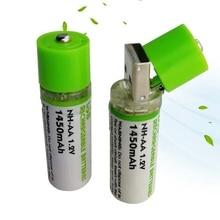 Wholesale 6pcs/lot USB AA Rechargeable Battery 1.2V Toy 1450MAH Nimh Long Life