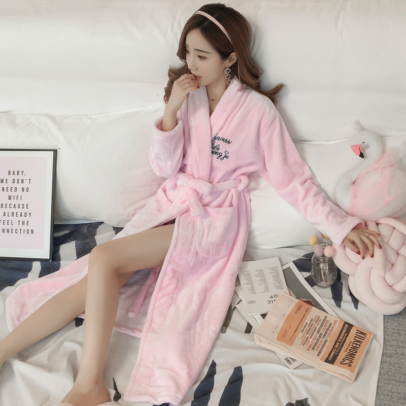 2020 Winter Fashion Korean Thick Warm Flannel Robes For Women Long Sleeve Pink Coral Velvet Bathrobe Sleepwear Homewear Clothing