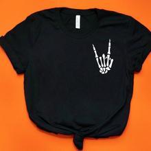 Esqueleto manos rock bolsillo estampado Mujer camiseta algodón divertida camiseta regalo para Lady Yong Girl calle superior Tee A-1060