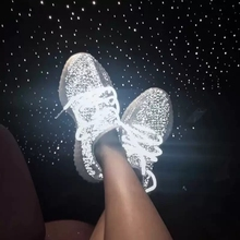 Купить с кэшбэком Haoshen&Girl 2020 NEW Hot Nightclub Sneakers Women Night Runing Air Mesh Breathable Sport Shoes Luminous Fashion Street Shoes