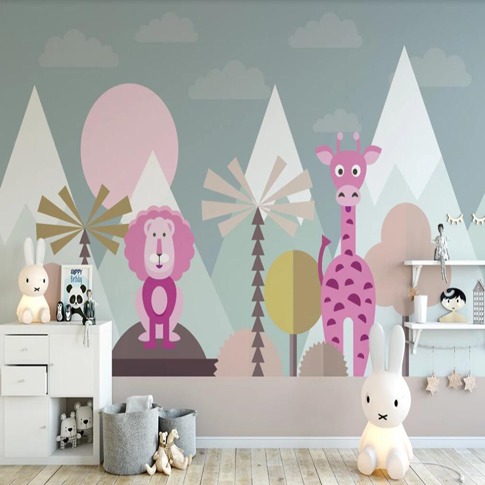 Drop Shipping Custom Large 3D Wallpaper Mural Children's Room Flat Cartoon Illustration Wall Decoration Mural Wallpaper