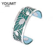 Cremo Fashion Leaf Hollow Arm Cuff Bangle Bracelets For Women Bijoux Yoiumit Stainless Steel Jewelry Reversible Leather Bangles