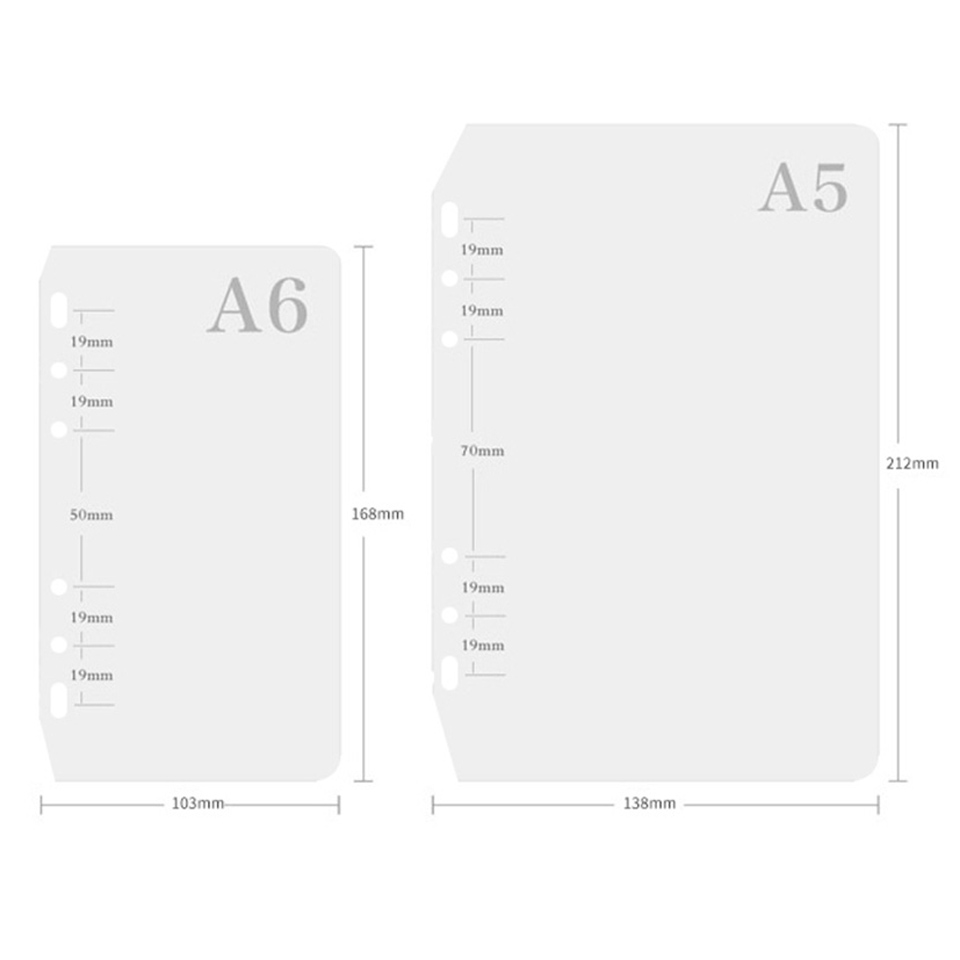 A5 A6 PP Binder Divider 6 Holes Filler Frosted Planner Inner Pages Spacer Page Separator Divider Plate For Spiral Notebook Binde