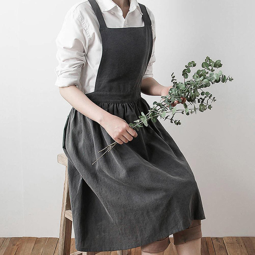 Women Stylish Cotton Sleeveless Apron Pinafore Loose Dress Home Cooking Florist