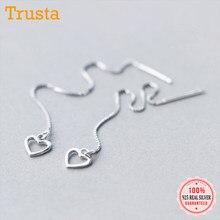 Trustdavis – boucles d'oreilles en forme de cœur pour femme, bijoux fins de mariage, en argent Sterling 925, Dangle ajouré, chaîne à pampilles, DS70