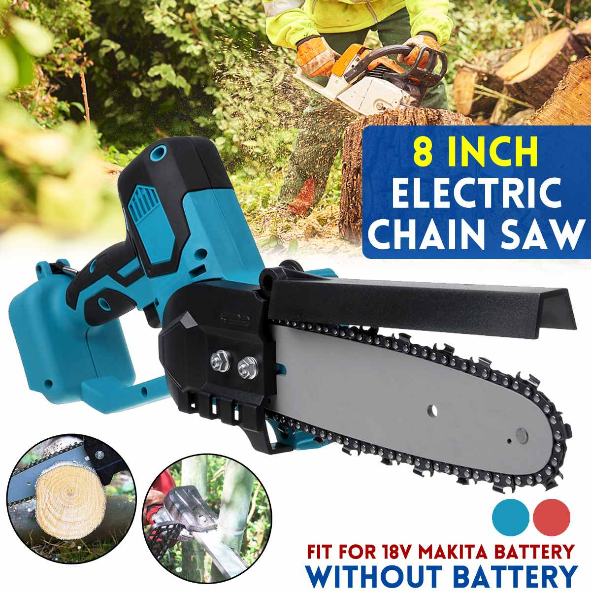 1080W 8 inch Electric Saw Chainsaw Wood Cutters Bracket Power Tool Chain Saw For Makita 18V Battery  Tool Only